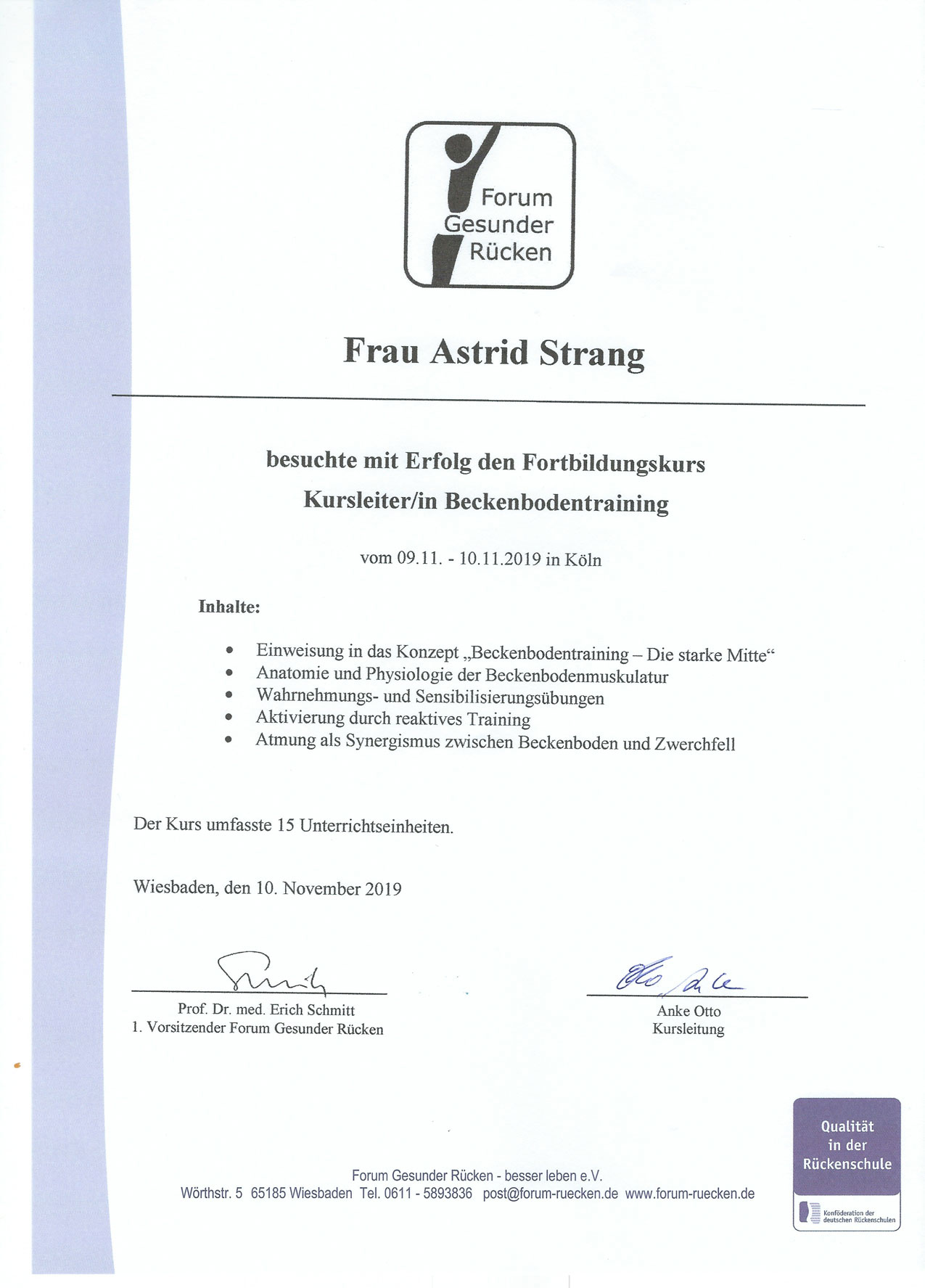 Qualifikation und Nachweis der Physiotherapie Praxis mensana•med in Köln für den Bereich der Bewegungstherapie