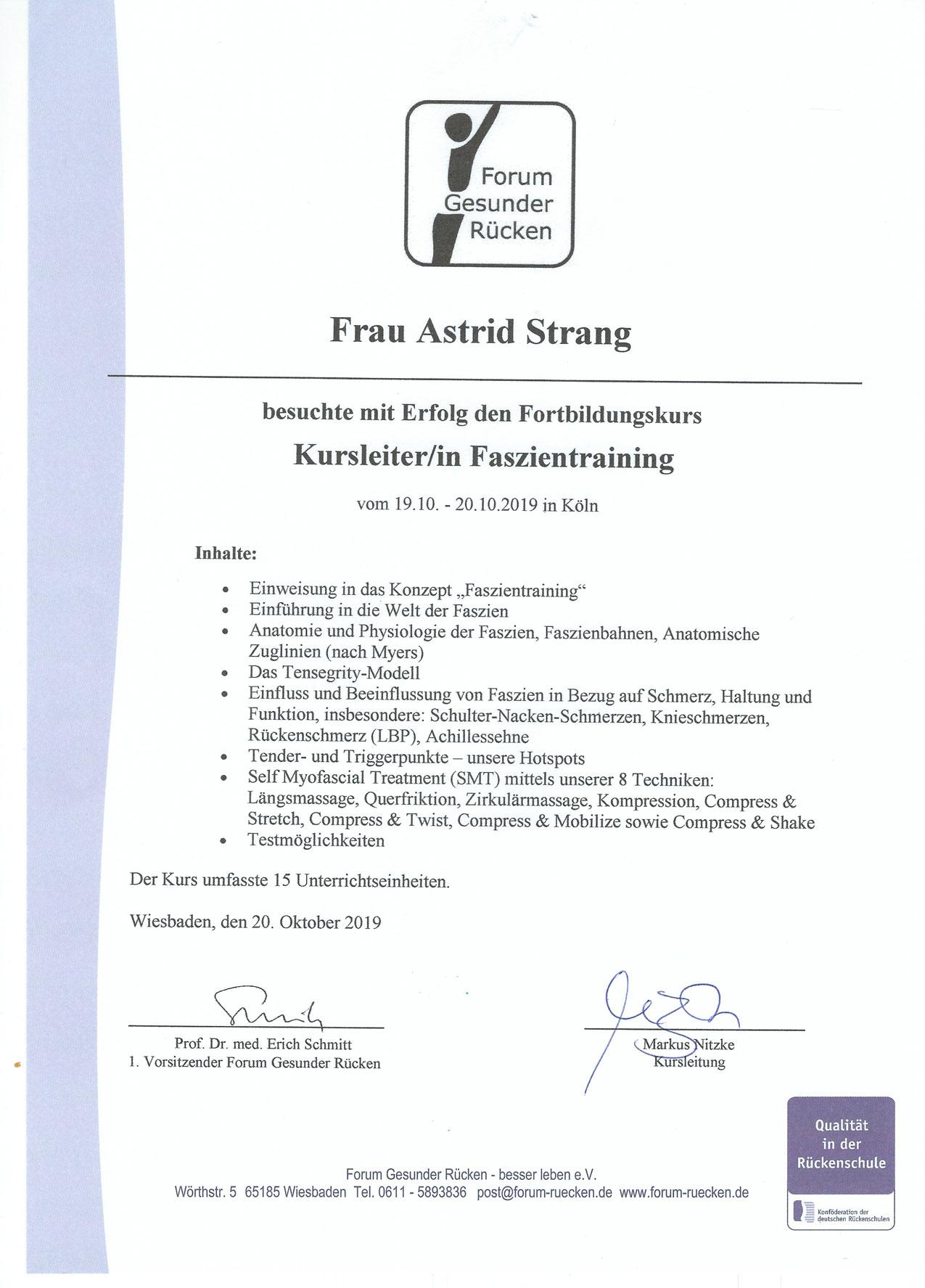 Qualifikation und Nachweis der Physiotherapie Praxis mensana•med in Köln für den Bereich der Bewegungstherapie.