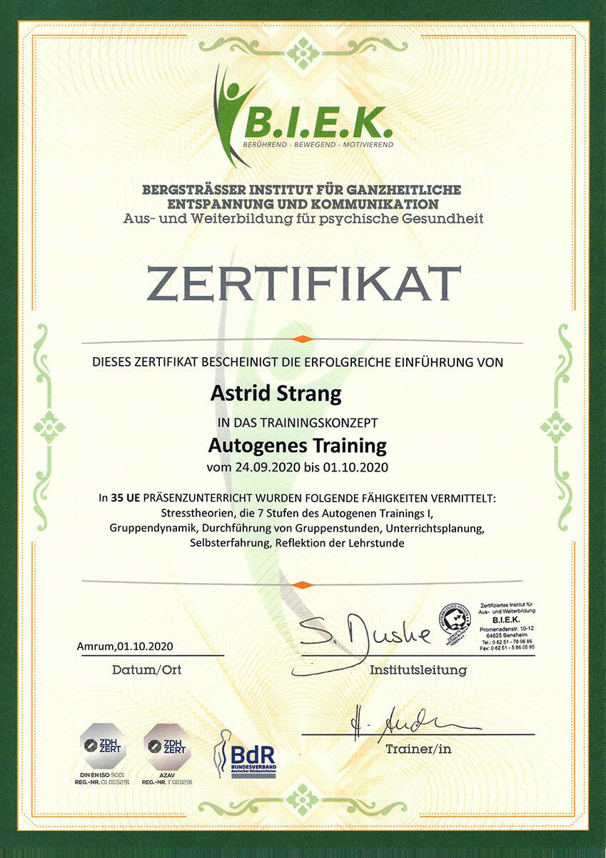 Qualifikation und Nachweis der Physiotherapie Praxis mensana•med in Köln für den Bereich Autogenes Training.