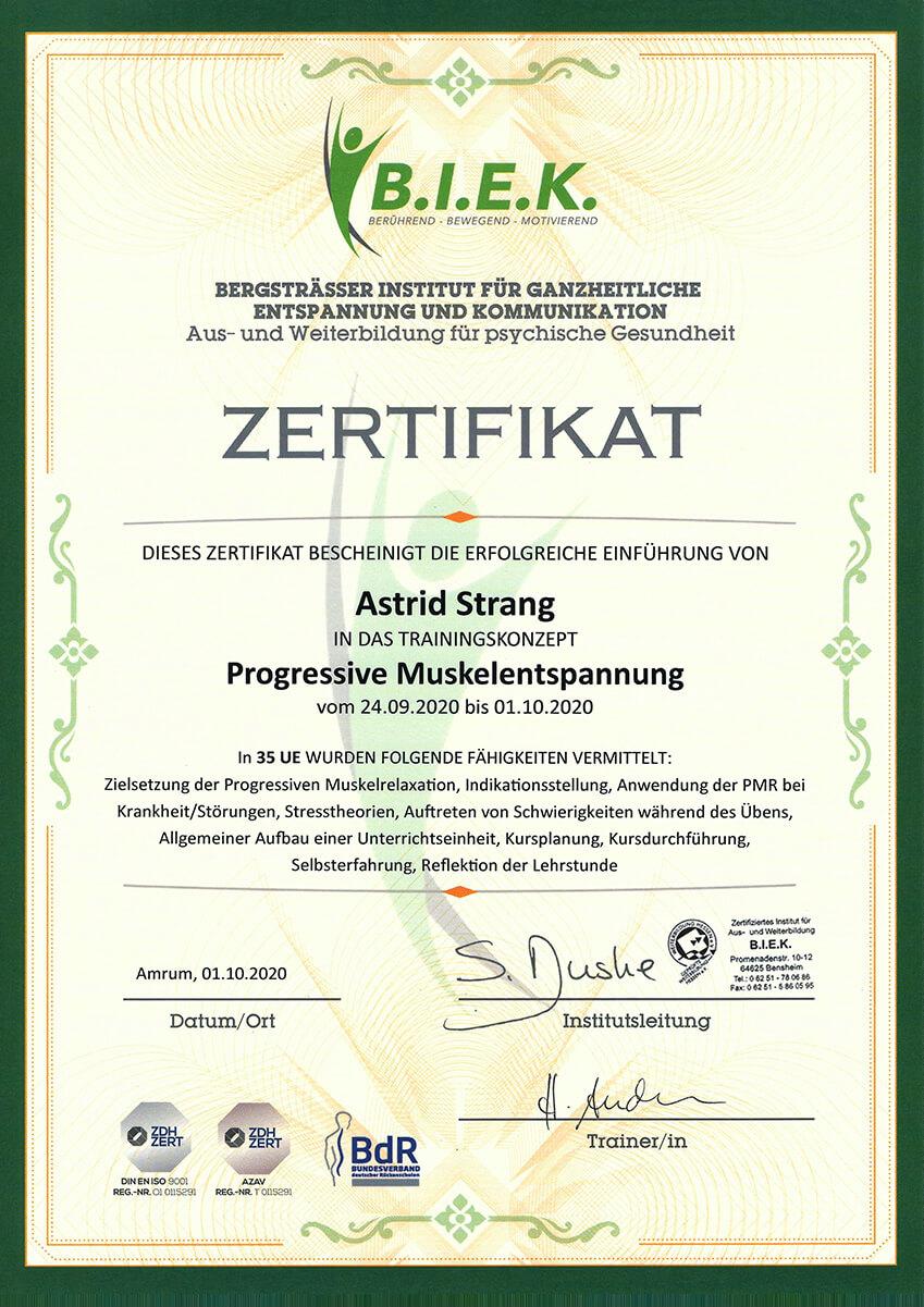 Qualifikation und Nachweis der Physiotherapie Praxis mensana•med in Köln für den Bereich Progressive Muskelentspannung.