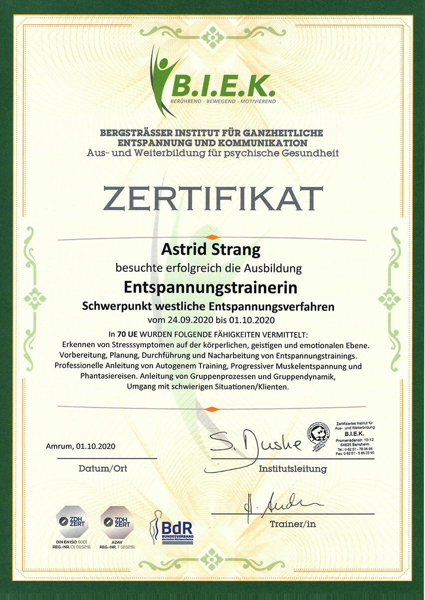 Qualifikation und Nachweis der Physiotherapie Praxis mensana•med in Köln für den Bereich Entspannungstraining..
